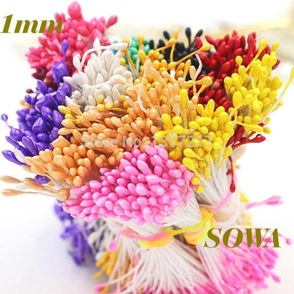 1 мм 420 шт./лот случайный смешанный двойной головок Искусственные мини жемчужина цветок тычинки с пестиком для Свадебные украшения DIY