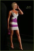 2013 Summer Fashion Gray Purple Stripe Women Ladies Evening Dresses Sexy Tight Deep V Neck Bandage