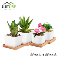 WITUSE 4x Small Large White Square Ceramic Bonsai Pots Cute Plant Garden Desktop Planter Flower Pots