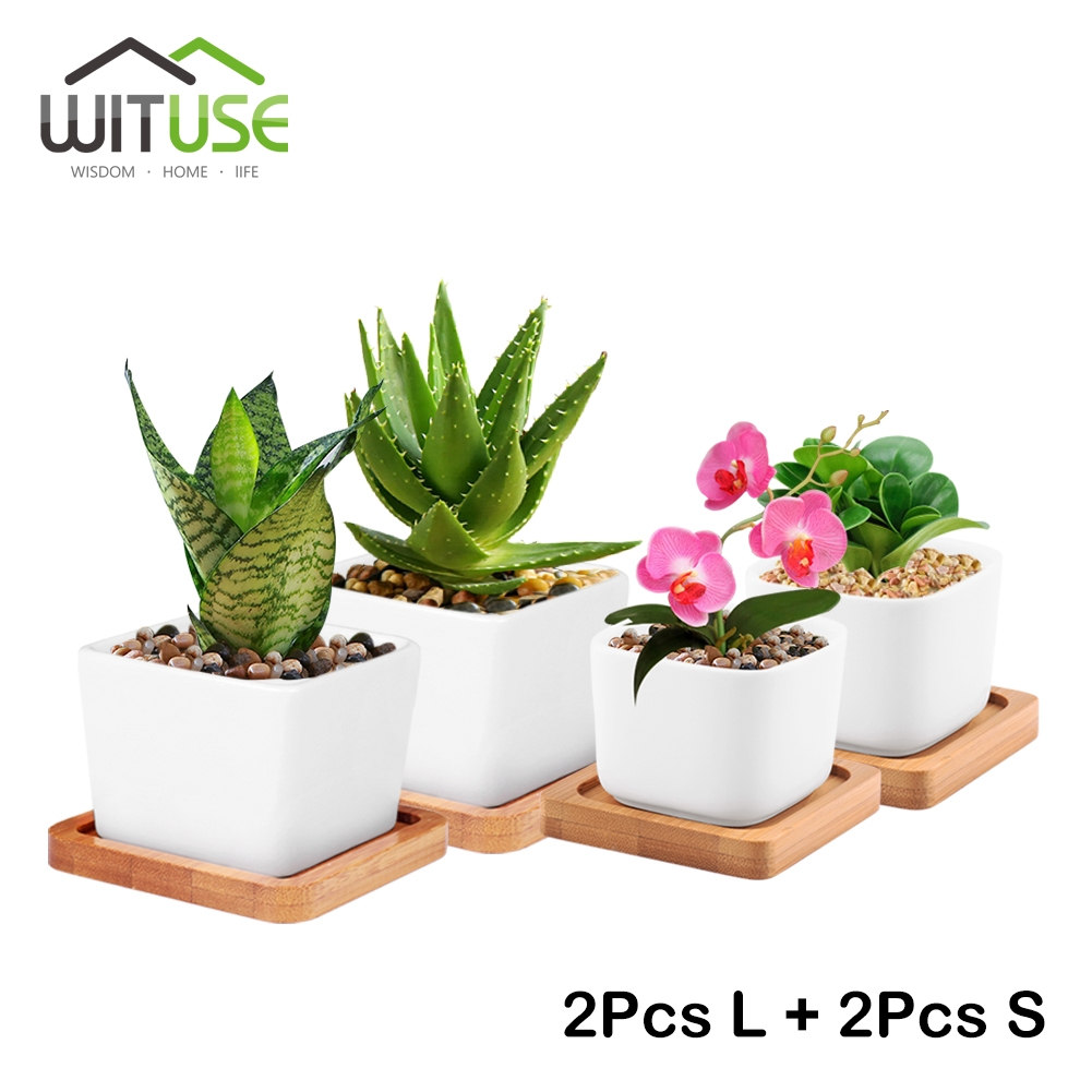 online get cheap small bonsai pot aliexpress com alibaba group wituse 4x small large white square ceramic bonsai pots cute plant garden desktop planter flower