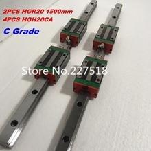 20 мм Тип 2 шт. HGR20 линейной направляющей L1500mm Rail + 4 шт. каретка HGH20CA блоки для ЧПУ