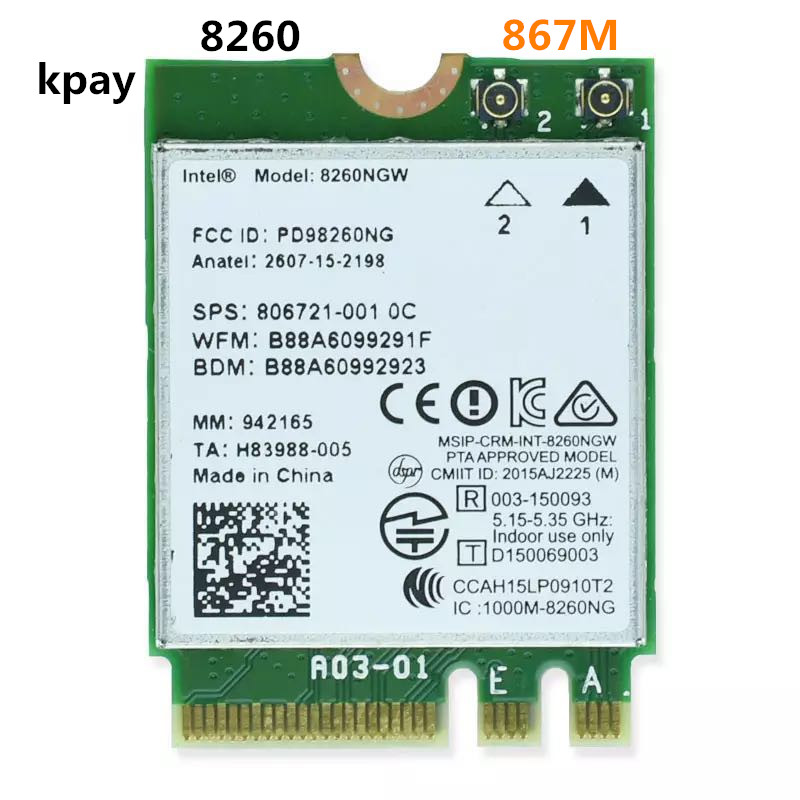 Беспроводной для Intel 8260 AC 8260NGW двухдиапазонный 867 Мбит/с NGFF адаптер Wi Fi 8260ac 2,4 ГГц/5 ГГц 802.11ac Bluetooth 4,2 для ноутбука-in Сетевые карты from Компьютер и офис