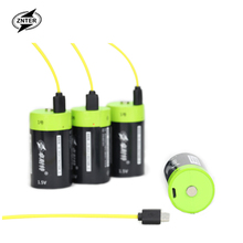 ZNTER SUPER big capacity 2pcs/lot 1.5v Lithium li-polymer 6000mAh D size rechargeable battery type Li-ion powerful
