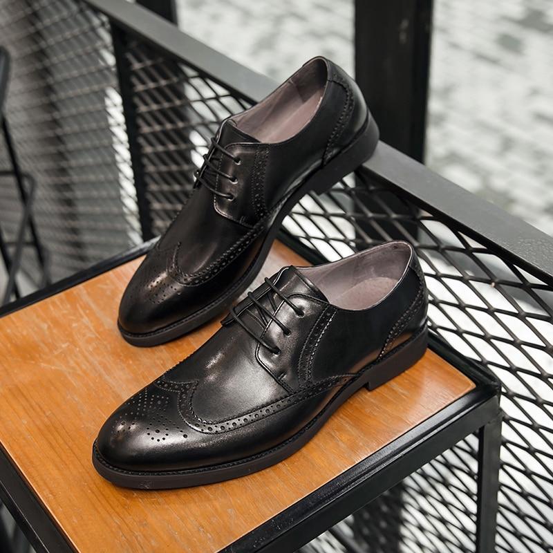 Cuero Para Clásico Genuino Hombres Italiano Zapatos Casual Oxford Masculino Oficina Boda De 100 Formal Black Negocio Hombre qvpIRd