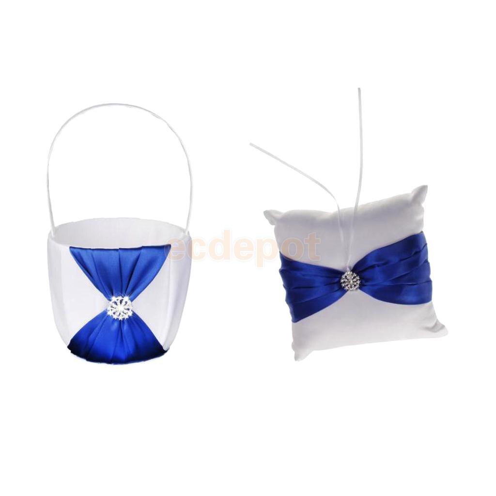 Set Of 2pcs Wedding Flower Girl Basket Ring Bearer Pillow With