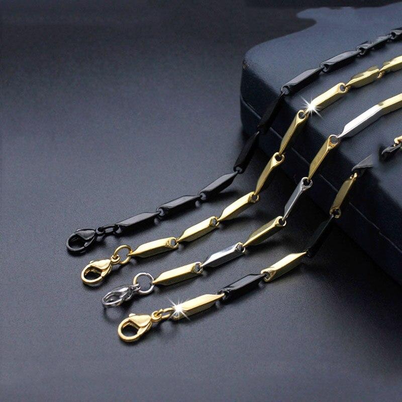 20-дюймовая ромбовидная Золотая, черная, Серебряная цветная цепочка из нержавеющей стали с подвижной звеньями, цепочка для ожерелья