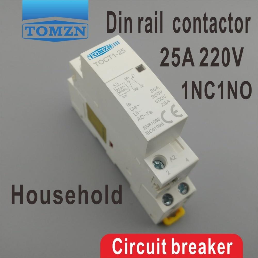 CT1 2P 25A 1NC 1NO 220V 230V 50 60HZ Din rail Household ac contactor