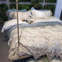 Luxury Egypt Long-staple Cotton Ivory Blue Lace Bedding Set King Queen Size Bed Collection Hotel Duvet Cover Sheet Pillowcases(China)