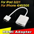1pcs/lot High Definition Dock Connector to HDMI AV TV Adapter Digital HDMI Cable for iPhone 4 4s for iPad 2 3 for iPod HD 1080P