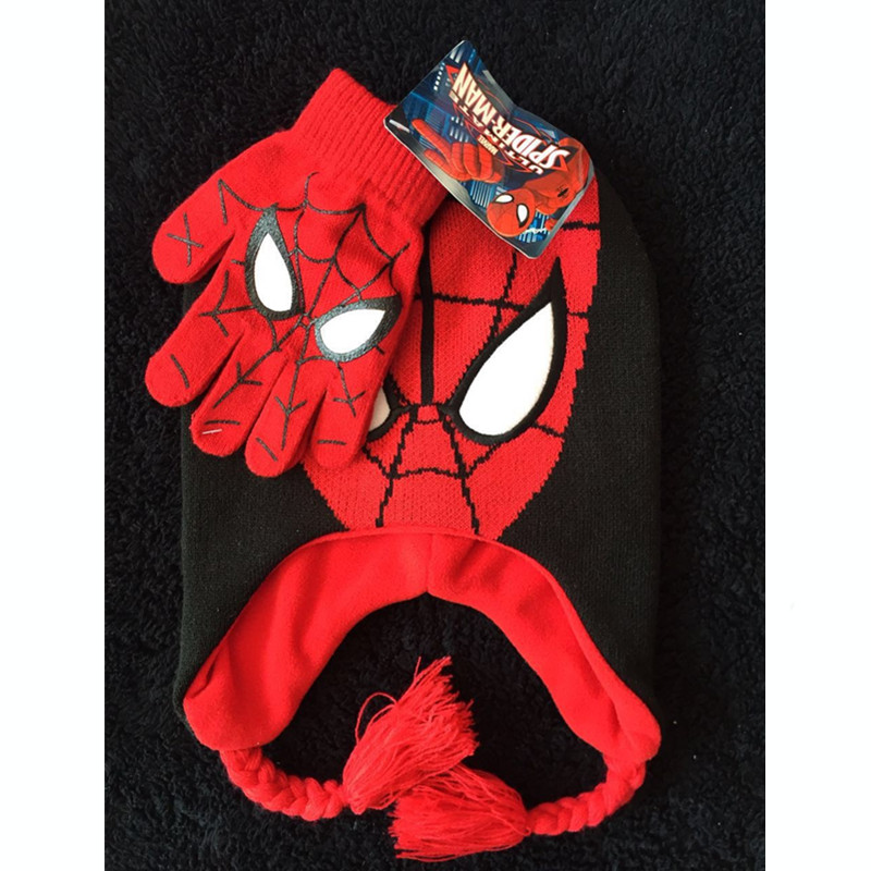 Fashion Spiderman Knitted Hat Winter Cotton Spiderman Hat Glove Sets For Baby Kids boys Warm Children