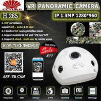 Panorama 360 grados panorámico ONVIF Wifi IP cámara con IMX322 1.3MP ojo de pez inalámbrico 802.11b/g/n infrarrojo interior envío gratis