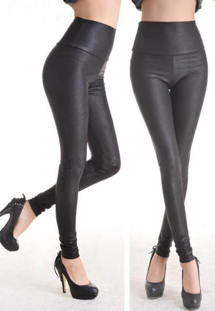 Fashion-Deep-Black-Faux-Leather-Leggings-LC7748-4-2