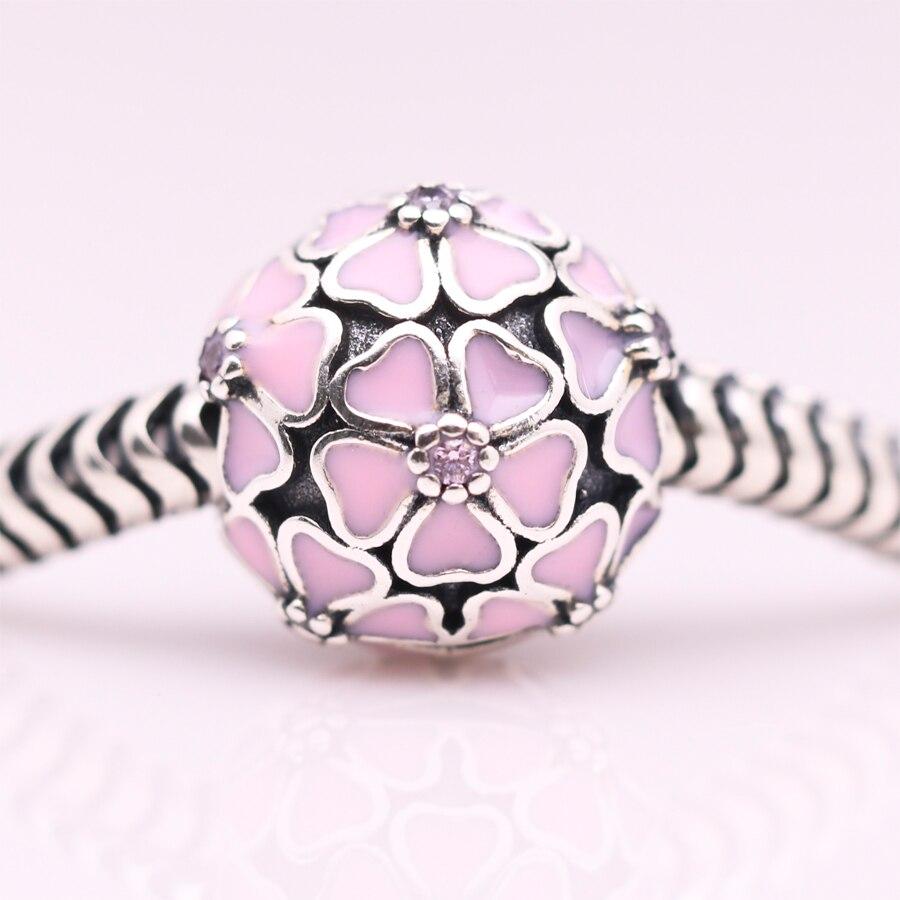 ᐊpink Enamel Sakura Clip ᗔ Beads Beads Original 925