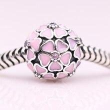 Esmalte de color rosa sakura Beads Clip Original 925 plata esterlina encantos Aptos Pandora Pulseras Mujeres DIY Joyería