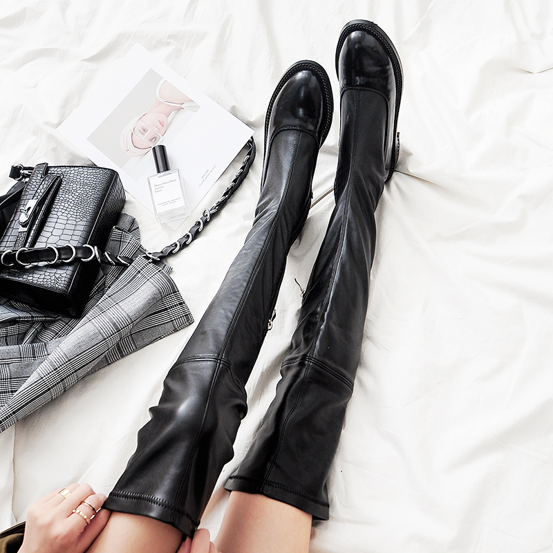Women/'s faux suede Low Heel knee high Boots Lace Up casual Boots plus size