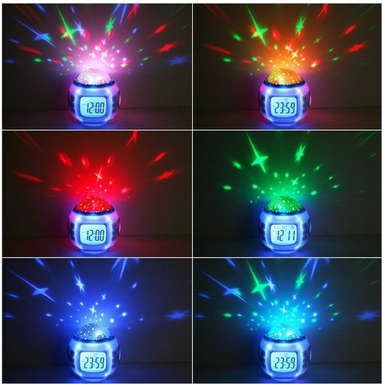 10 sets flash 7 colors Music Starry Star Sky Projection Alarm Clock Calendar Thermometer Best gift with manual retail package