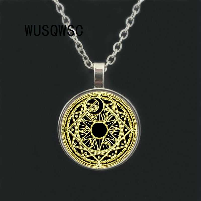 WUSQWSC Magic Circle Space Moon Star Ouija Wicca Gypsy Pentagram Witch Steampunk Pendant Necklace Silver Chain Hexagon Necklace