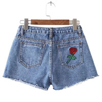 Summer European And American Vintage Style Women 2017 Runway Embroidery Flower Red Rose Pockets Shorts Women