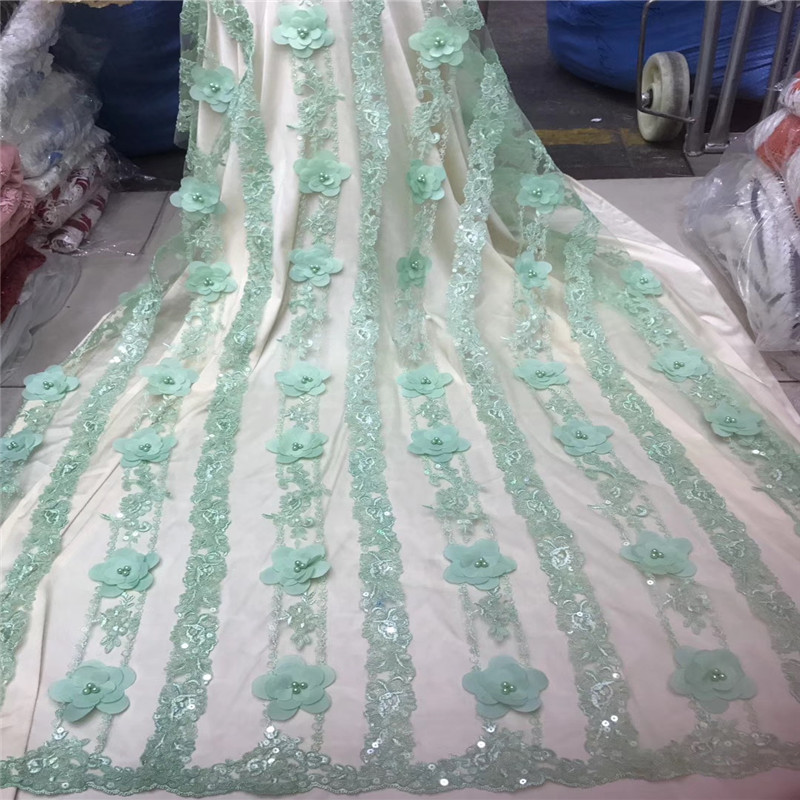Fashionable French Party Lace Beaded Mint Green Sequin Net Lace High Quality 3d Appliques Tulle Dress Lace Fabric HJ1360