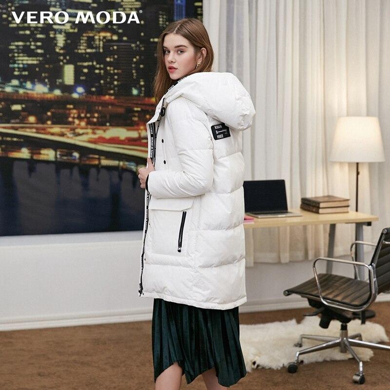 Vero Moda new hooded letters back velcro long down jacket 318312505