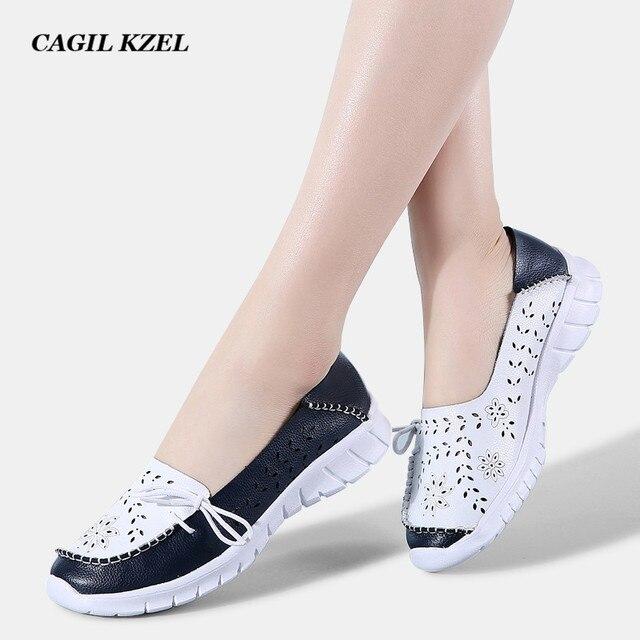 CAGILKZEL 2019 Moda Kadın Flats Ayakkabı Hakiki Deri Yaz Ayakkabı Kadın Slip-on Balerin Flats Anne Tekne Ayakkabı moccasins