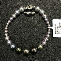 4-10 ММ натуральный жемчуг таити и серый морской воды перл смешанная браслет многоцветный подлинная ювелирные изделия большой и малый смешан...