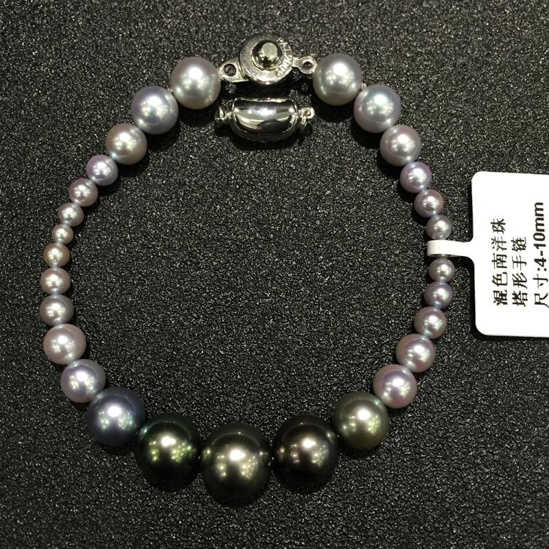 4-10MM přírodní tahiti pearl a šedá mořská voda perla smíšené náramek vícebarevná originální šperky velké a malé velikosti smíšené jemné