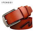 IFENDEI Brand Designer Belts Men High Quality Luxury Genuine Leather Fashion Casual Belt Male Printing Waist Jeans Red Coffee