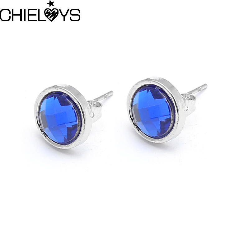 CHIELOYS September Water Drop Silver Plated+Synthetic Blue Crystal Stud Earring For Women Pan Earrings Jewelry Gift