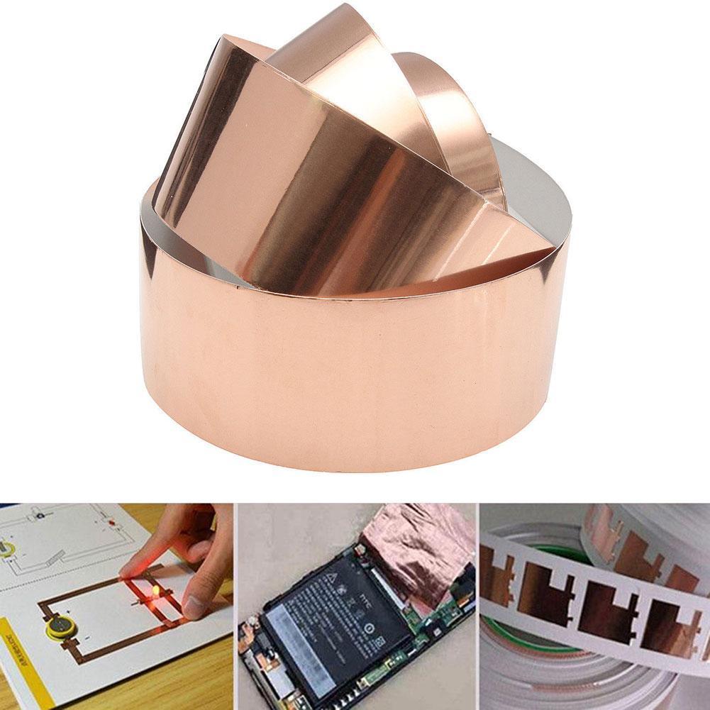 50mm X 3m Double Conductive Adhesive Emi Shielding Copper Foil Tape Great For Slug Repellent Emi Shielding Stained Glass AQF8014