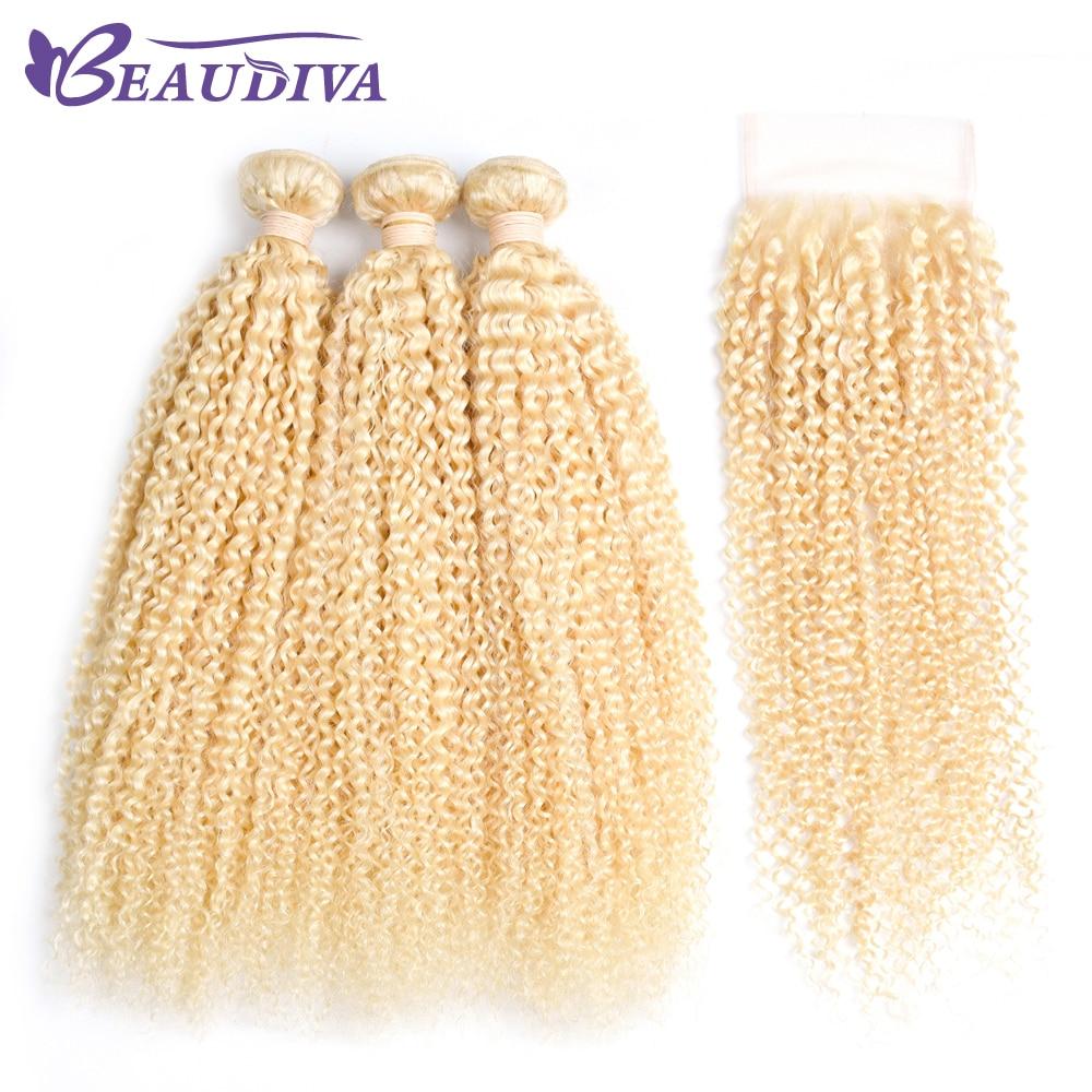 Beaudiva предварительно Цветной Девы волос кудрявый вьющихся волос 2/3 Связки с Синтетическое закрытие волос 613 # блондинка Цвет волос Человечес...