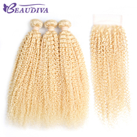 Beaudiva Pre Colored Hair Kinky Curly Hair 2/3 Bundles With Closure 613# Blonde Color Hair Human Hair With 4x4 Closure