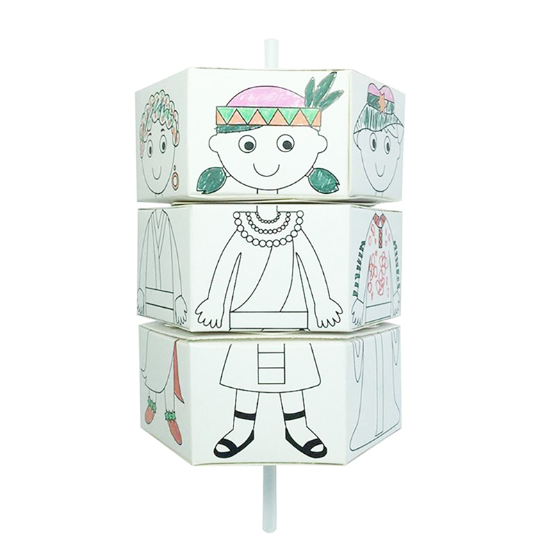 Children Rotary DIY Paper Colour Matching Rotation Change Clothes Doll Creative Handcraft Puzzle Kindergarten Toys