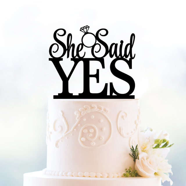 She Said Yes Cake Topper Gold