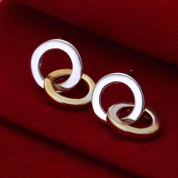 925 Jewelry Silver Plated Wholesale Free Shipping Earrings for women&men Double Ring Earrings E068 /adgaiuna adfaiuma