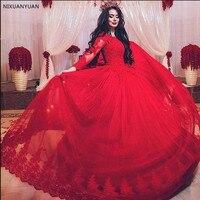Vestido де Novia 2019 бальное платье красного цвета с длинными рукавами и кружевом свадебное платье для мусульман аппликации из бисера принцессы по