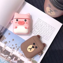 Cute Bluetooth Wireless Earphone Case For Apple AirPods 1 2  Silicone Charging Piglet and bear protective cover