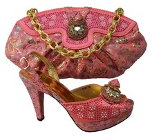Fashion African Design Rhinestone High Heel Shoes And Handbag Sets New Woman Shoes And Bag Set For Party Pink Color GF36