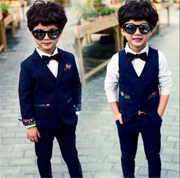 d779e976d Los niños coreanos ropa 2015 otoño traje Floral de tres piezas de vestir  juegos caballero de los muchachos conjuntos pantalón + chaqueta + chaleco  para la ...
