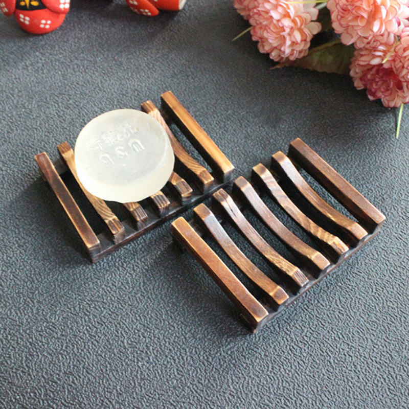 Portable Bamboo Wooden Soap Dish Shower Case Holder Container Storage Box Bathroom Kitchen Tool Oc26