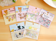 TD ZW 80Pcs/Set Transparent Cute PVC Stickers Lovely Rilakkuma Sticker For Notebook Backpack Phone Laptop Pad Decal Toy Stickers