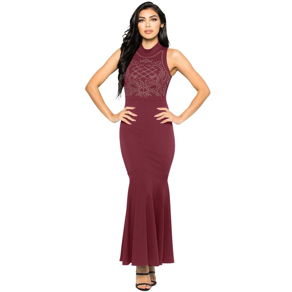 New Fashion Women Mermaid Gown Dress Rhinestones Bodycon Turtleneck ...
