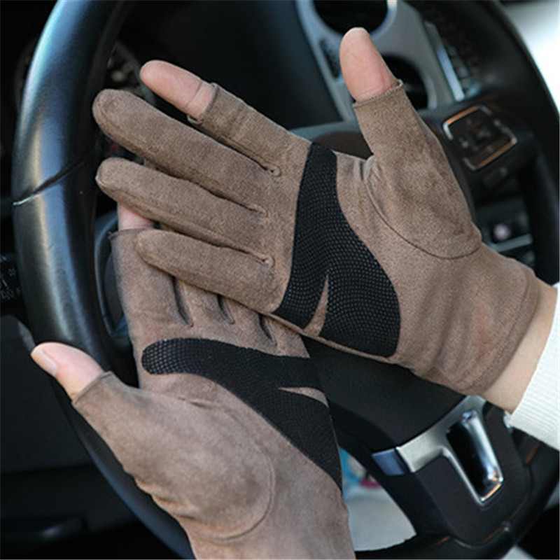 2019 Autumn Winter New Thickening Half Finger Gloves Imitation Suede Unisex Exposed Two Fingers Non-Slip Driving Gloves SZ043