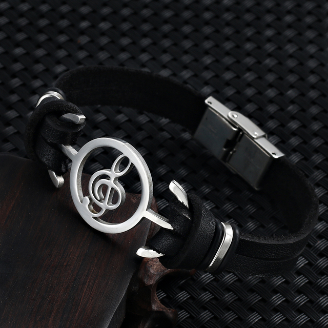 2018 hot liujun Retro Fashion Men's Bracelet Music Notes Stainless Steel Leather Bracelet For Men jewelry pulseira masculina	 4