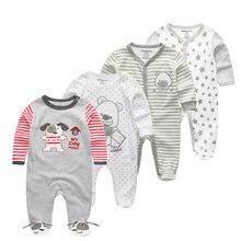 4 Pcs/lot winter Soft Cotton Baby Unisex Rompers Overalls Newborn Clothes Long Sleeve Roupas de bebe Infantis Boy clothing Set
