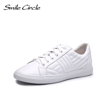 Smile Circle Genuine Leather Sneakers Women Lace-up Flat Shoes Women White black Sneakers 2018 Spring autumn casual shoes