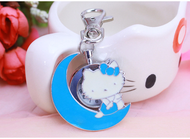 New pocket watch hello kitty cartoon desgin Women man bag key chain kids Casual dress chain necklace keychains Relojes
