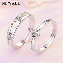 e6bf1f16fb 2Pcs/set Charm letter Lover forever Ring Bijoux Fashion Jewelry Silver CZ  Engagement Wedding Ring For Women Couple Promise Gift