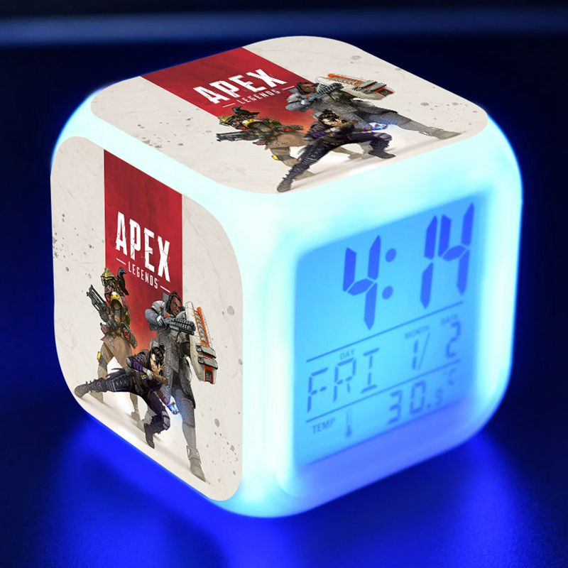 Battle Royal Apex Legends Boys Figure LED Alarm Clock Colorful Flash Light Apex Legends Game Figma Toys