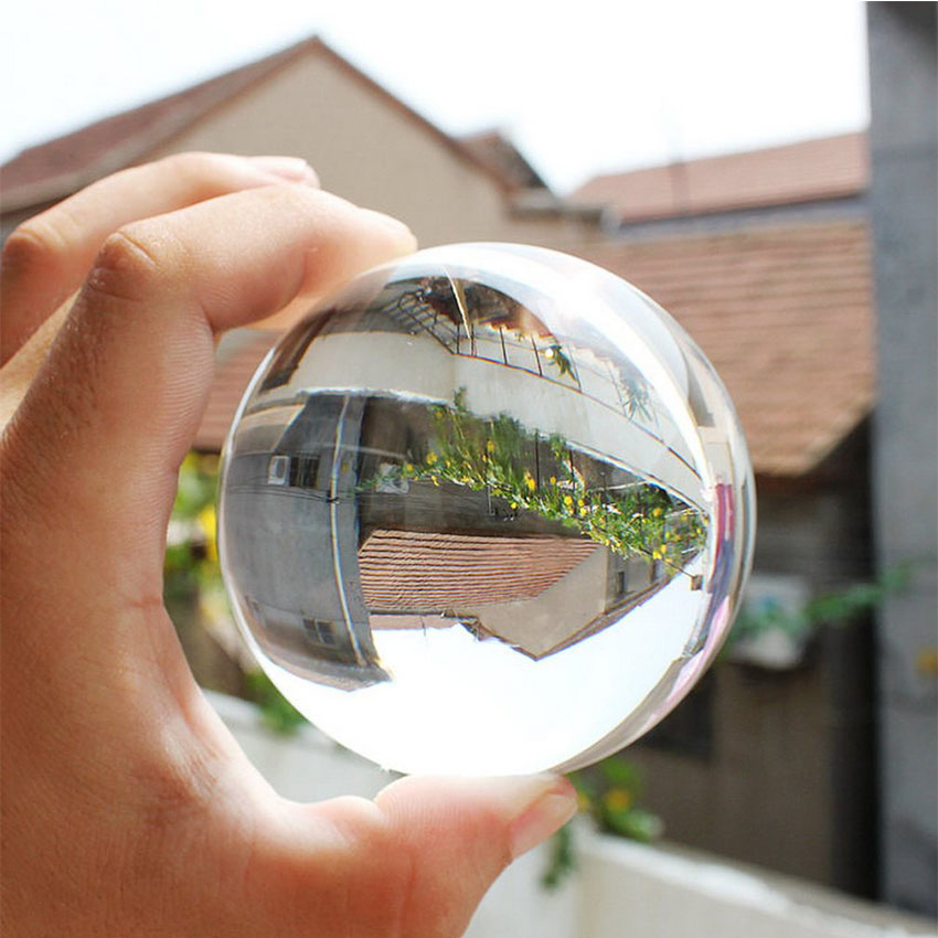 80mm Round Clear Glass Artificial Crystal Sphere Ball for Photography Room Decor